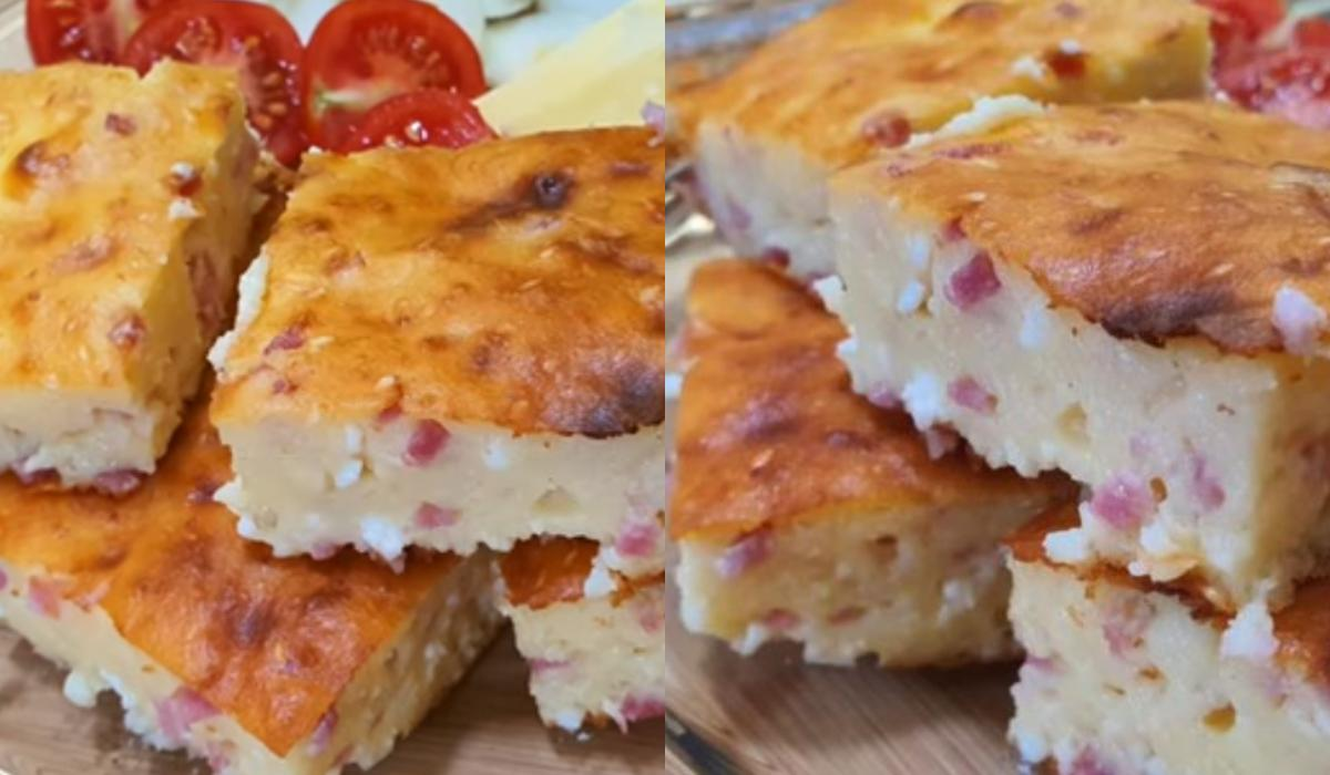 Εύκολη πίτα χωρίς φύλλο με φέτα και ζαμπόν