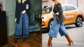 Ζιπ κιλότ τζιν 2021: Δείτε 12 ιδέες με denim culottes την απόλυτη τάση
