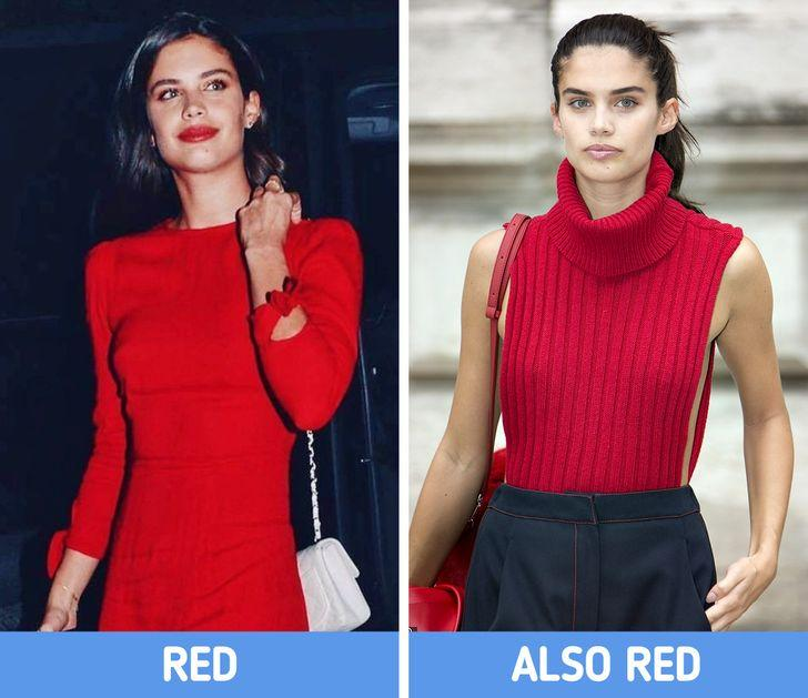 γυναίκες με κόκκινο φόρεμα και κόκκινο μάλλινο πουλόβερ