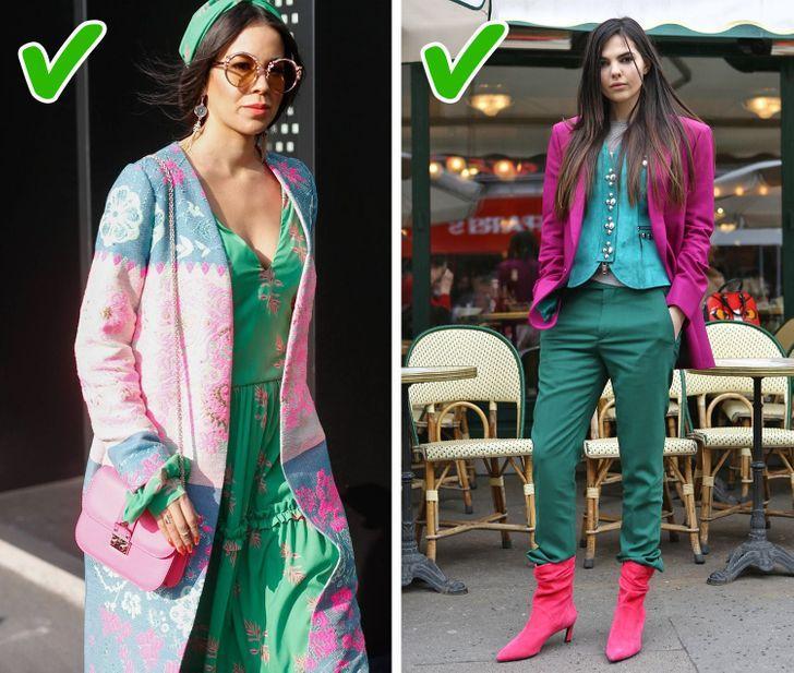 γυναικείο outfit με πράσινες και ροζ αποχρώσεις