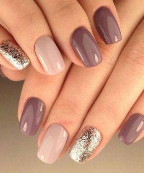 μοβ και ροζ νύχια με ασημί στρας