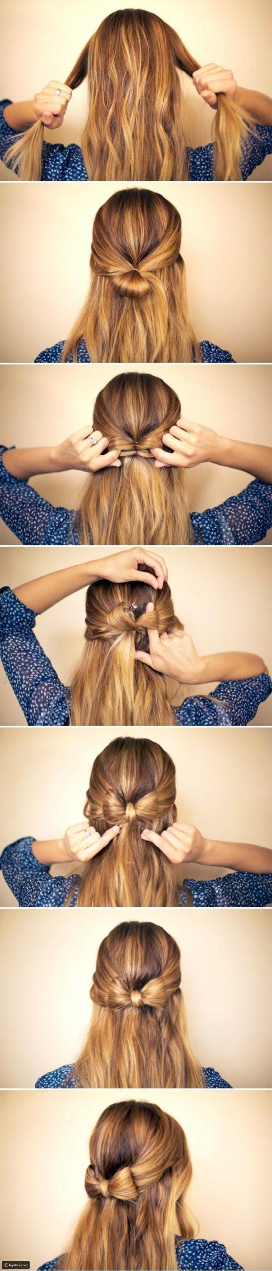 Χτένισμα για την Πρωτοχρονιά με φιογκάκι στα μαλλιά