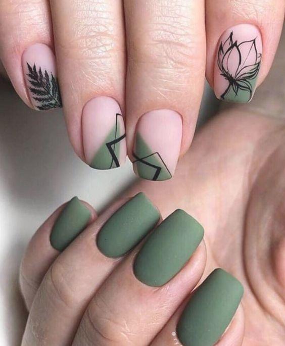 νύχια 2021: λαδί νύχια με μαύρα σχέδια
