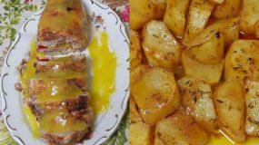 Πρωτοχρονιάτικο ρολό κοτόπουλο με σάλτσα πορτοκάλι & μελωμένες πατάτες φούρνου
