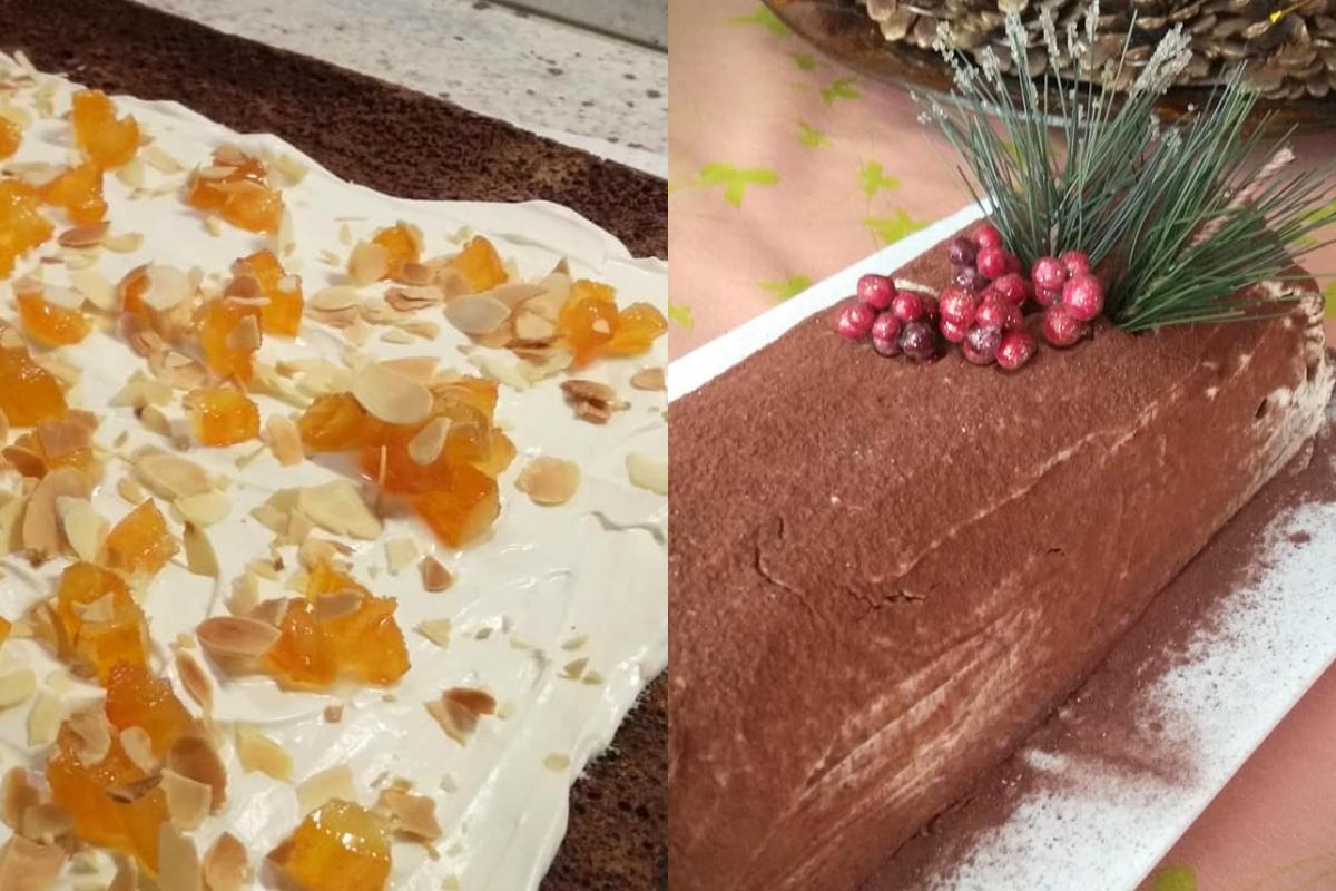 Πρωτοχρονιάτικος κορμός με γλυκό του κουταλιού πορτοκάλι & παντεσπάνι σοκολάτας