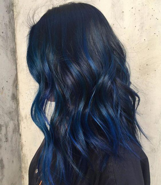 Αποχρώσεις μαλλιών 2021 :Μαύρο μπλε