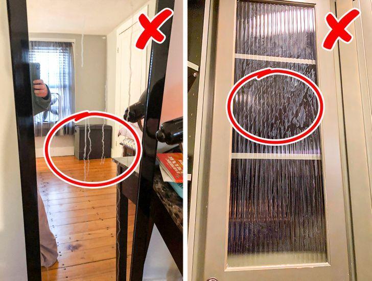 Απαγορεύεται να καθαρίζουμε με το υγρό πιάτων τα γυάλινα παράθυρα και τους καθρέφτες