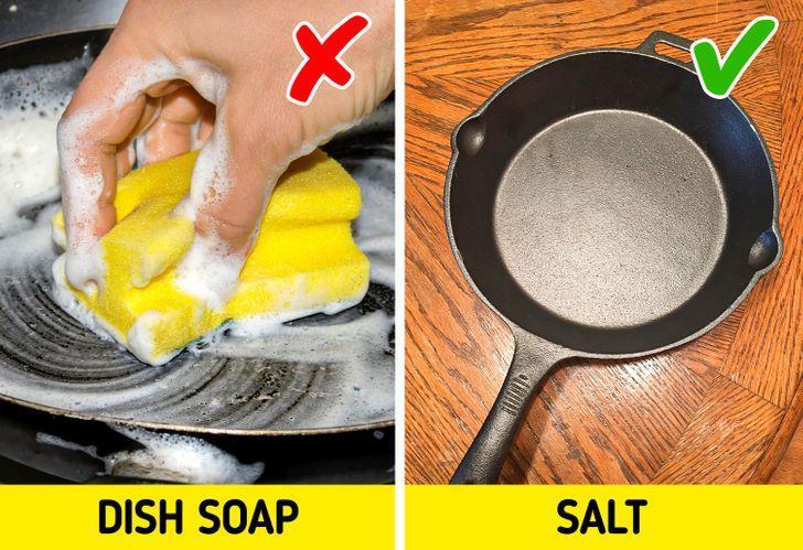 Απαγορεύεται να καθαρίζουμε με υγρό πιάτων τα τηγάνια από χυτοσίδηρο