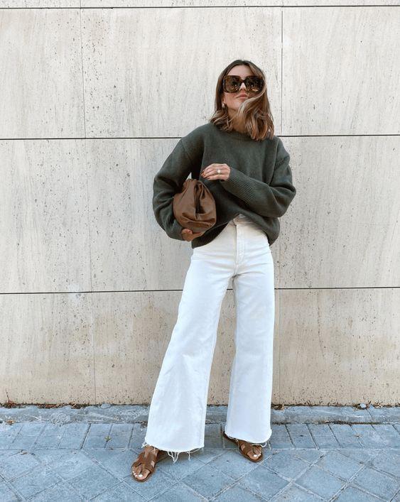 wide leg λευκό jean παντελόνι