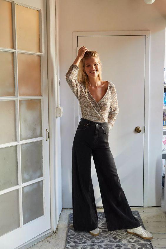 wide leg μαύρο jean παντελόνι