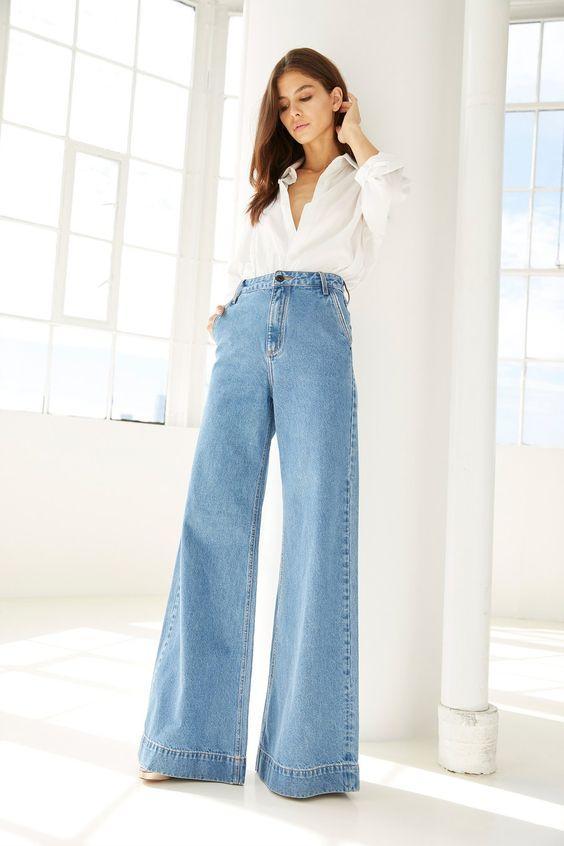 wide leg μπλε jean παντελόνι