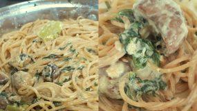 Σπαγγέτι ολικής με σάλτσα μανιταριών και σπανάκι