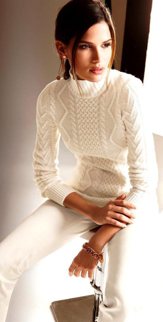 creamy white πουλόβερ_ και creamy white παντελόνι_