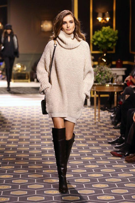creamy white φόρεμα_ με over the knee μπότες_