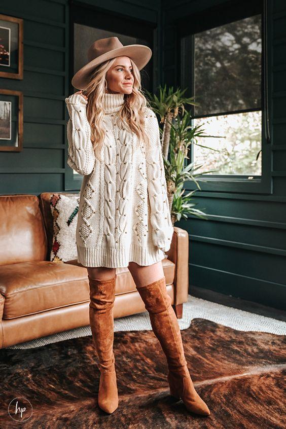 Creamy white φόρεμα σαν πουλόβερ_ μπεζ καπέλο_ και καφέ over the knee μπότες_