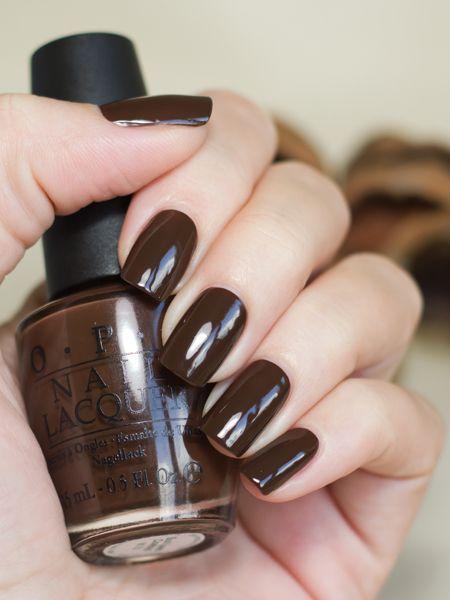 Καφέ σκούρα νύχια_ γυαλιστερά_