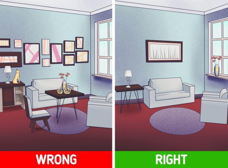 λάθη στην διακόσμηση του σπιτιού: διακοσμητικά χώρου_