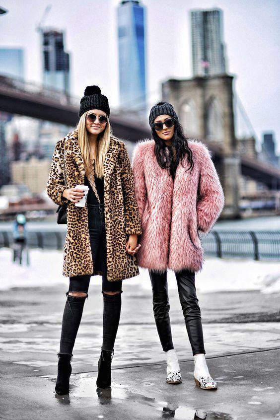 Ιδέες με faux fur_ γούνινα_ πανωφόρια_ σε animal print_ και ροζ σχέδια_