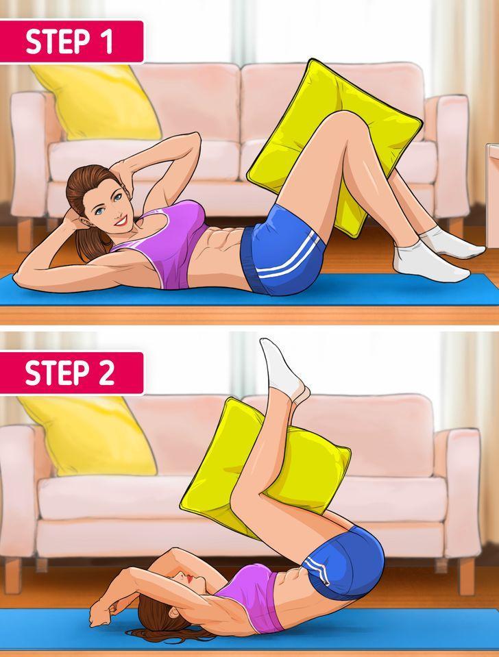 10 γυμναστικές ασκήσεις_ που μπορείς να κάνεις_ μόνο με μαξιλάρι_