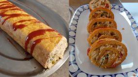 Ρολό ομελέτας _με κοτόπουλο _ πιπεριές_ και καρότο _