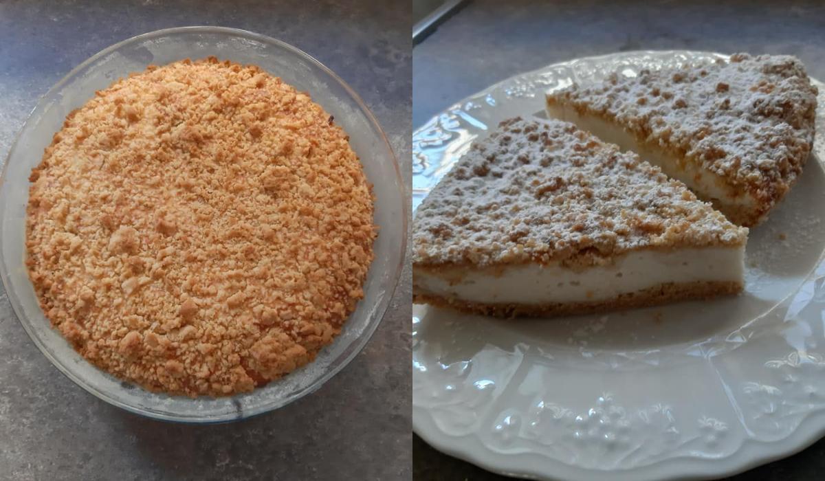 Συνταγή για_ κραμπλ_ κέικ _με κρέμα γιαουρτιού-