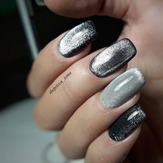 ιδέες_για_velvet nails_σε_μαύρο_και_γκρι_χρώμα_