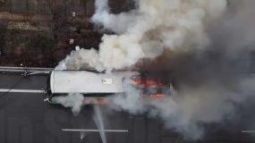 Εθνική Οδός: Φωτιά σε λεωφορείο των ΚΤΕΛ