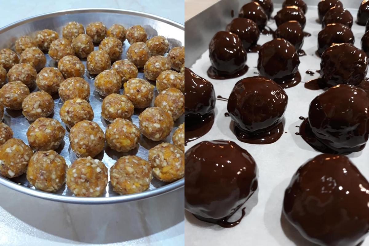 Σοκολατάκια με μανταρίνι και ξηρούς καρπούς