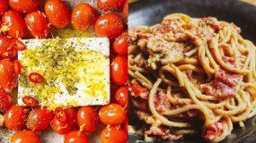 tiktok Pasta : Μακαρόνια με φέτα και ντοματίνια στο φούρνο