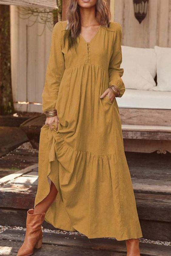 μουσταρδί_ανετο _φόρεμα_