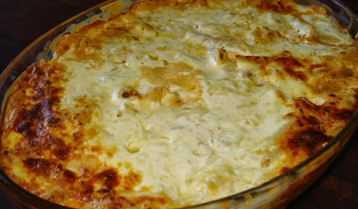Σουφλέ ζυμαρικών με ταλιατέλες και κρέμα γάλακτος_