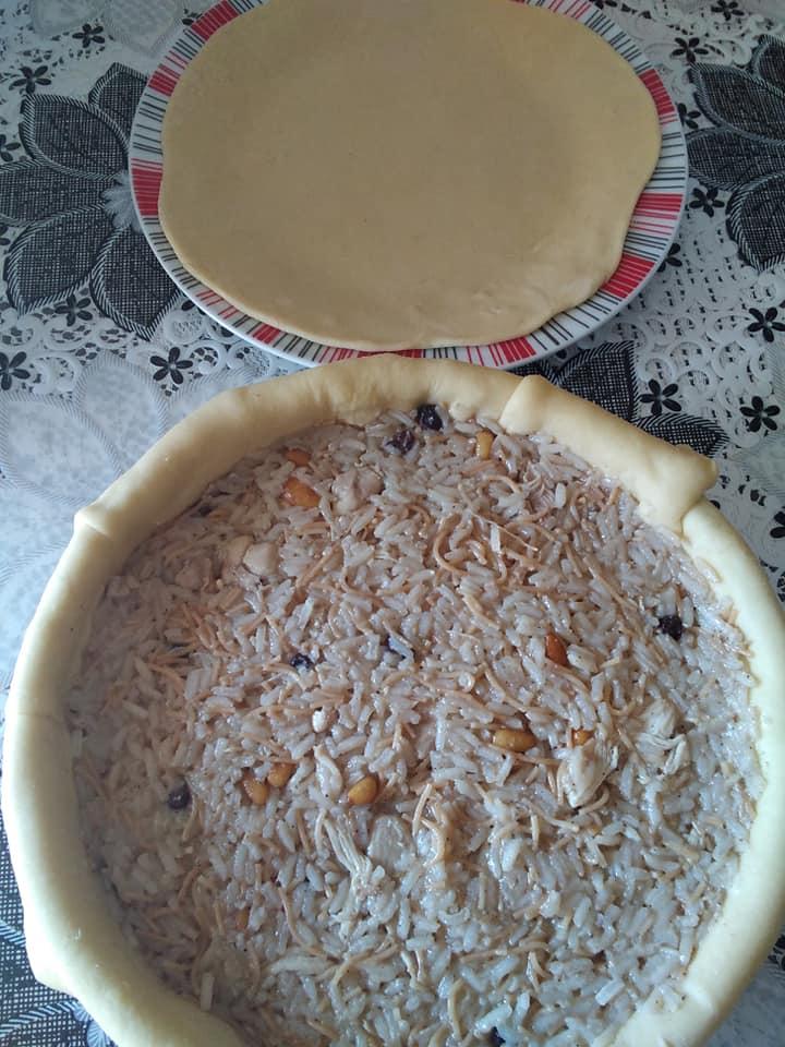 Perde pilavi: Πίτα με ρύζι , κοτόπουλο και φιδέ_Συνταγη _