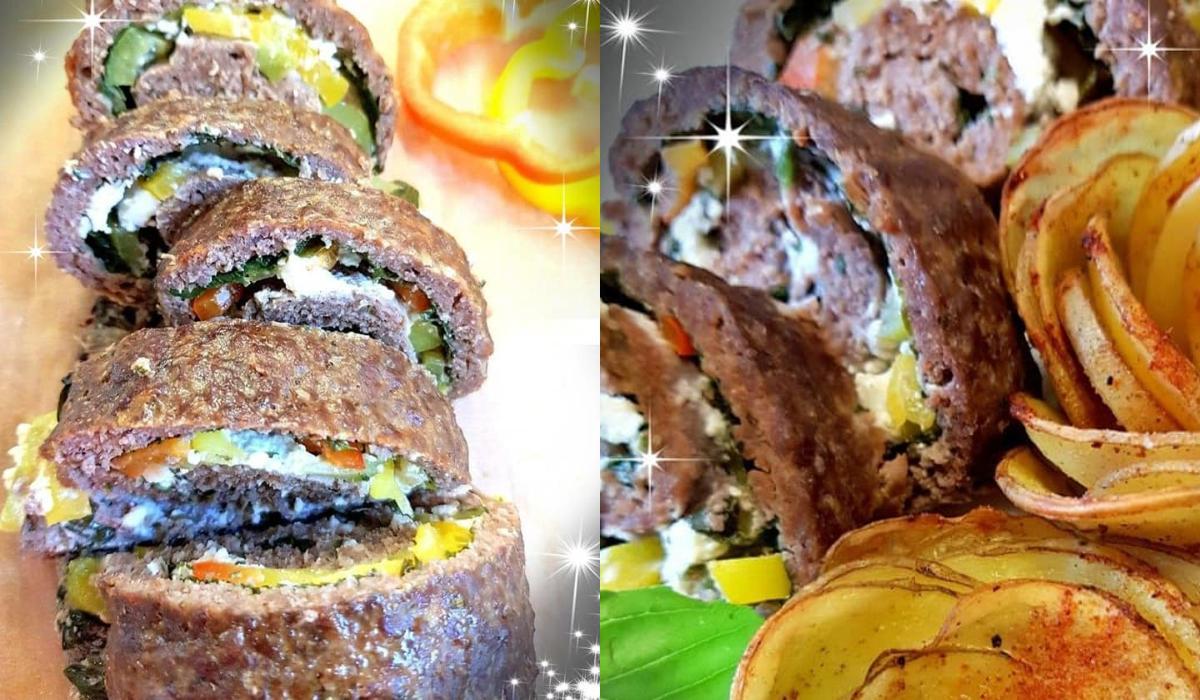 Γεμιστό ρολό με κιμά, σπανάκι και τυρί φέτα_