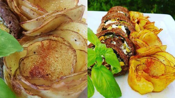 Πατάτες φούρνου σε σχήμα λουλούδι_