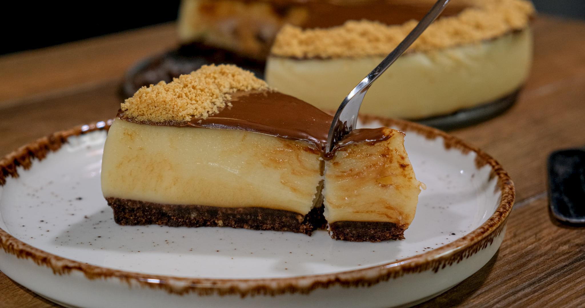 Νηστήσιμο _cheesecake_ με πραλίνα_Συνταγή_