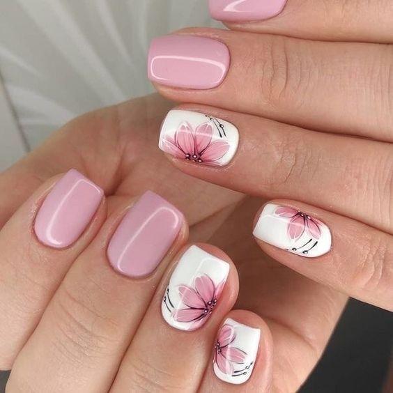 ροζ_νύχια_με_λουλούδια_ Νύχια Απριλίου_