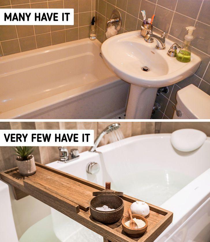 απλά _αντικείμενα_ που θα μετατρέψουν_ το μπάνιο σας_ σε σπα_ Ξύλινος πάγκος_