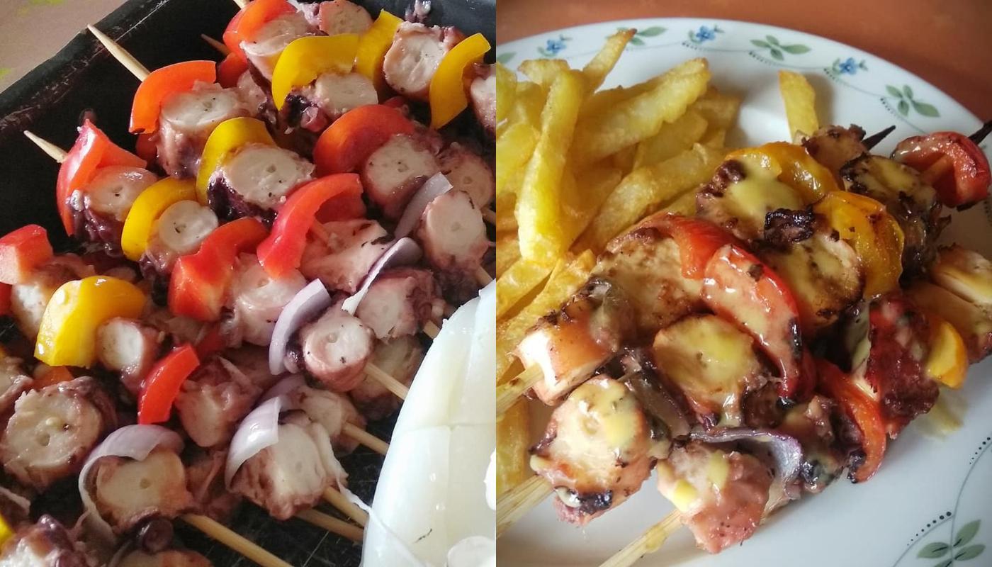 Σουβλάκια θαλασσινών με σάλτσα μουστάρδας