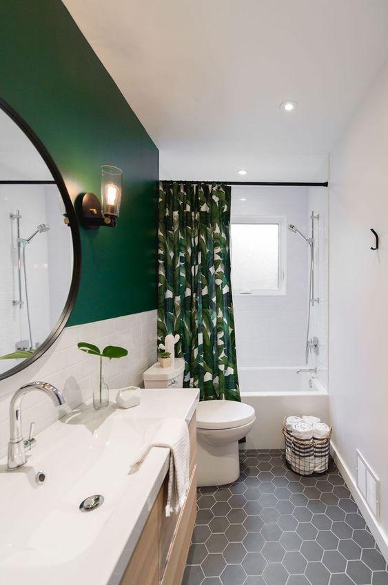 πράσινη_κουρτίνα μπάνιου_