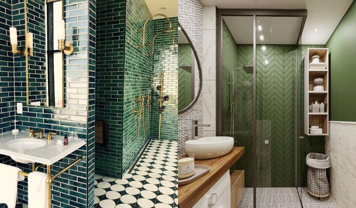 Μοντέρνες ιδέες για μπάνιο σε πράσινο χρώμα_