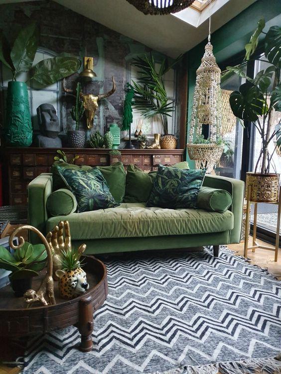 πράσινα_έπιπλα_και_φυτά εσωτερικού χώρου_στο_σαλόνι_ Πράσινο_ χρώμα _στο _σαλόνι_