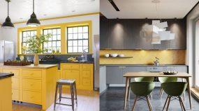 15 ιδέες για κουζίνα σε γκρι και κίτρινο χρώμα_