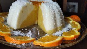 Δίχρωμη κρέμα σε φόρμα πορτοκάλι-βανίλια_
