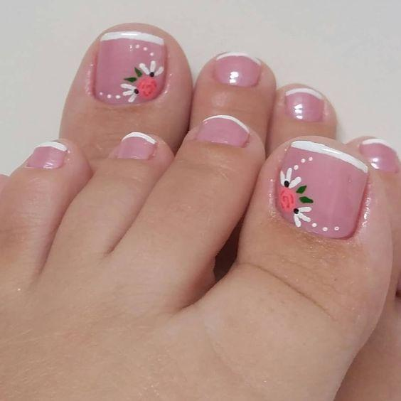 γαλλικό_πεντικιούρ_με_λουλούδια_ροζ_