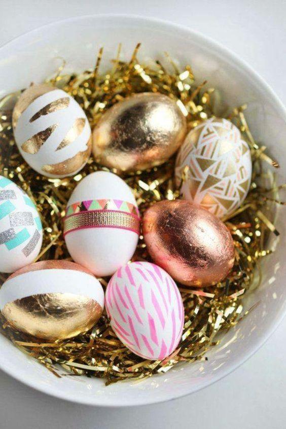 πασχαλινά αυγά_με_χρυσό_αλουμινόχαρτο_