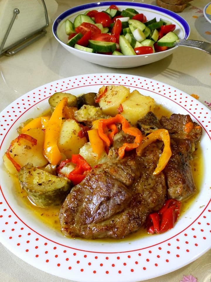Μπριζολακια_με λαχανικά_στο φούρνο_
