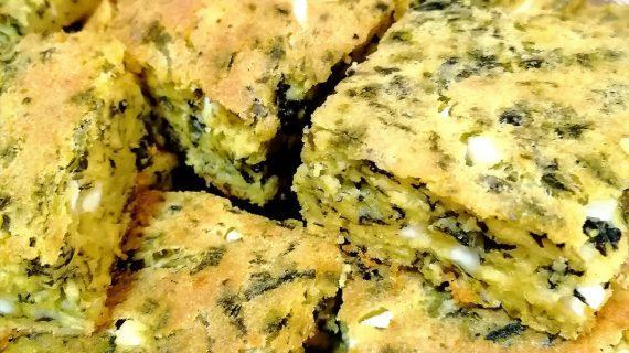 Πίτα χωρίς φύλλο με φέτα και βλίτα_