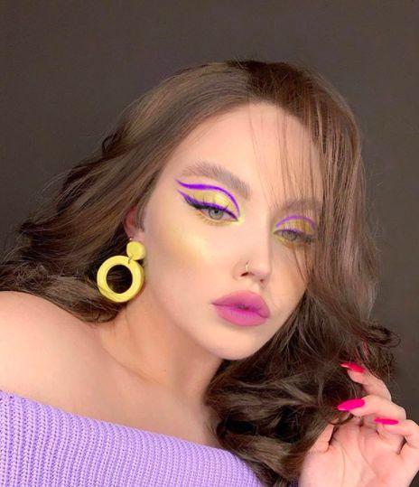 κίτρινο_smokey eye_με_μοβ_eye liner_