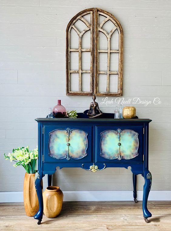 μπλε_vintage_έπιπλο_τροπική διακόσμηση_