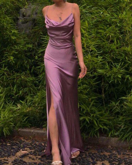 μοβ_σατέν φόρεμα_με_σκίσιμο_